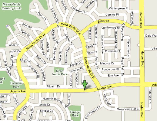 Map to Costa Mesa Counseling Office